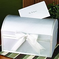 White satin covered treasure chest shape gift card box with slotted hinged lid