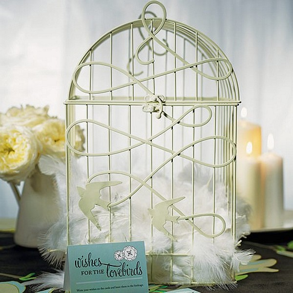 Ivory wire birdcage wishing well with birds in flight design