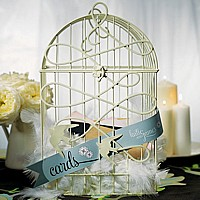 Ivory wire birdcage wishing well with birds in flight design and personalized paper streamer