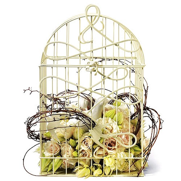 Ivory wire birdcage decorated with roses, vine and porcelain love birds.