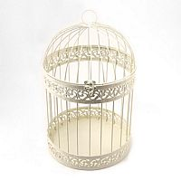 Decorative Round Birdcage Card Holder in Ivory
