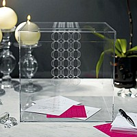 Clear acrylic card holder with etched circle pattern
