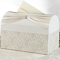 Vine pattern ivory satin gift card chest with Ivory satin sash and rhinestone buckle applique