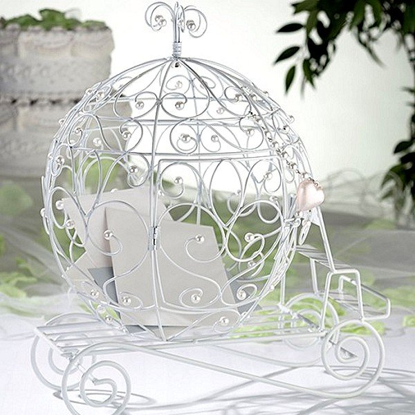 Disney Wedding Gift Card Box : White Wire Fairy Tale Coach Gift Card Holder
