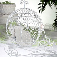White wire carriage shape wedding gift card holder