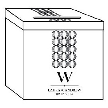 Engraving format for single initial with names and wedding date engraved on acrylic card box