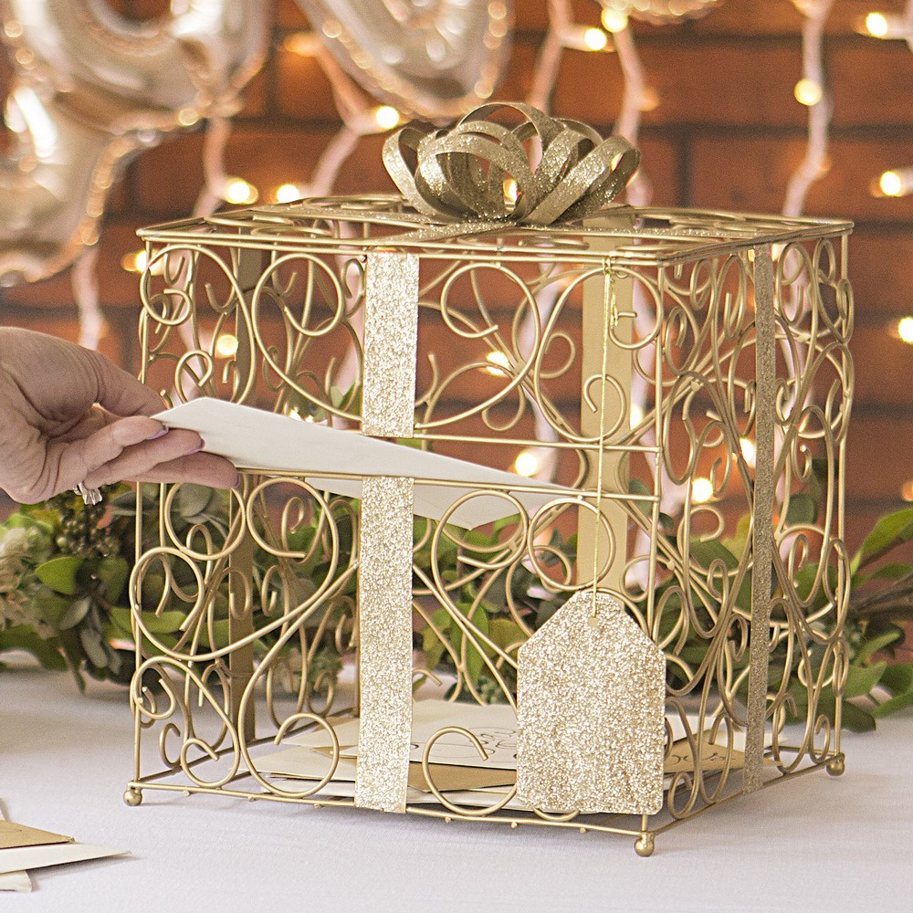 Gift Card Box For Wedding Reception: Gold Scrolled Wire Wedding Gift Card Box