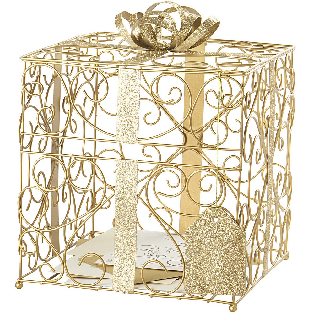 Gold metal scroll boxed present gift cards holder