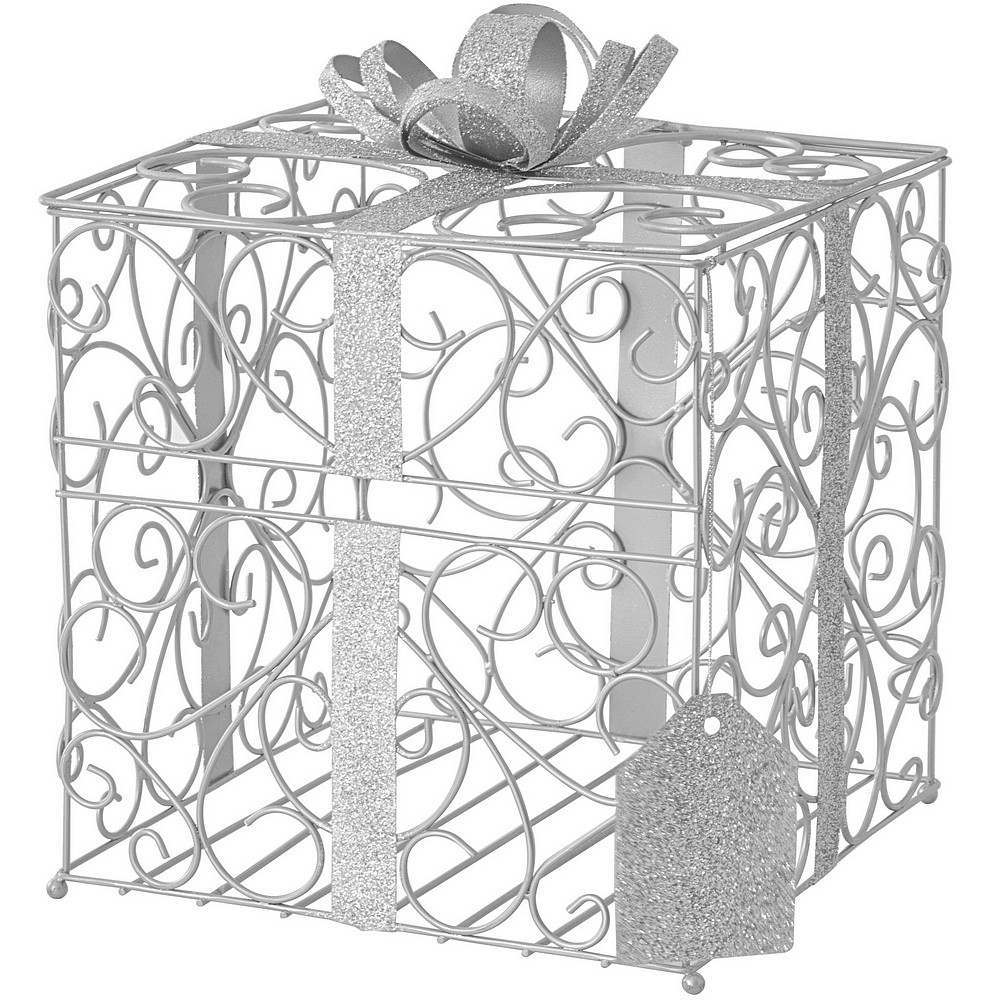 Silver scrolled wire wedding gift card box