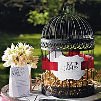 Decorative Round Birdcage Card Holder in Black