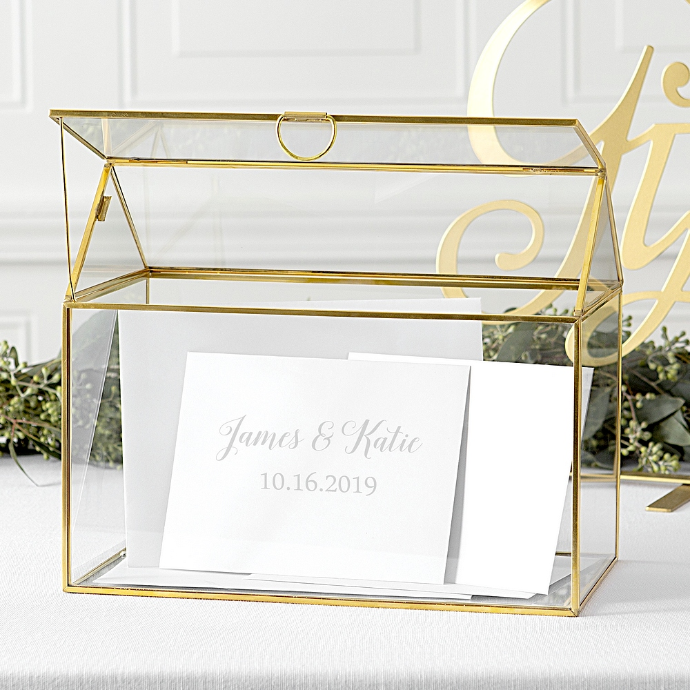 Personalized Gold Frame Glass Terrarium Gift Card Holder