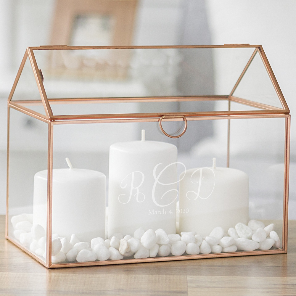 Rose gold trim glass terrarium personalized with wedding monogram for candles centerpiece