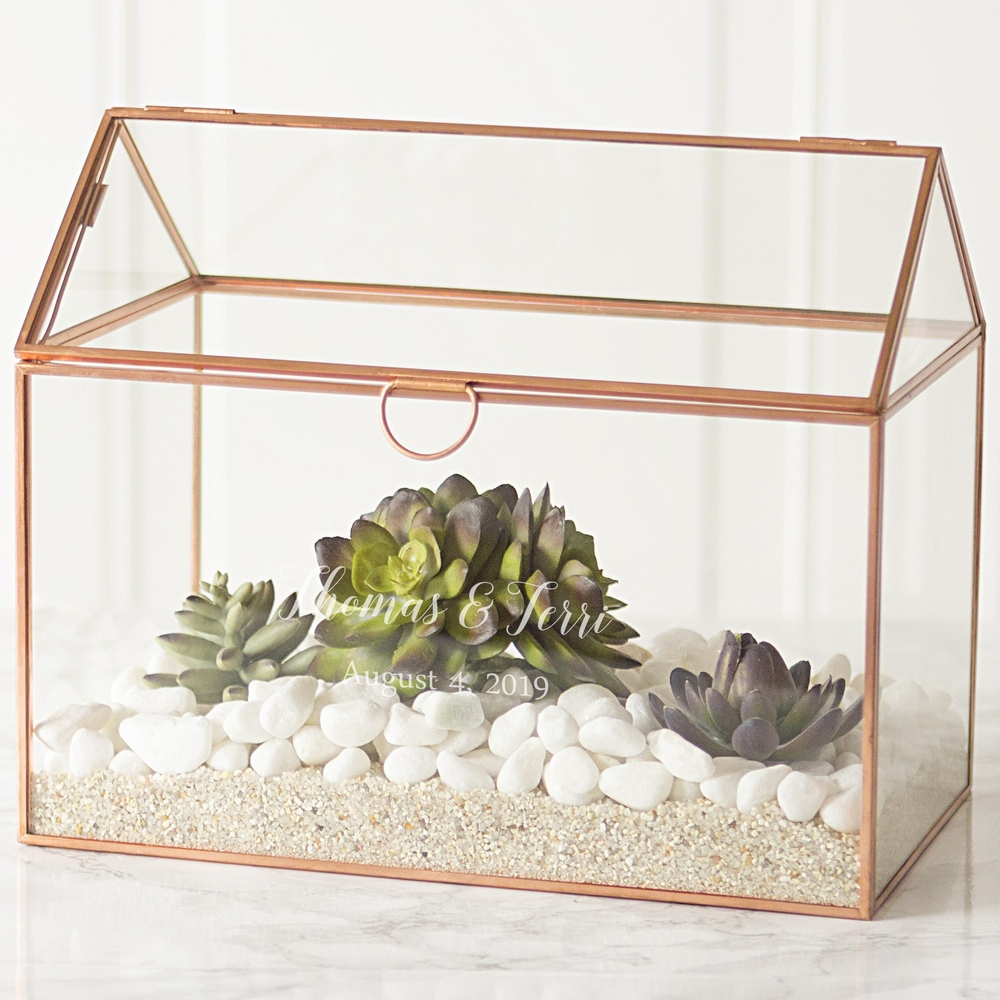 Rose gold trim glass terrarium personalized with 2 lines of custom print with succulents for decorative wedding centerpiece