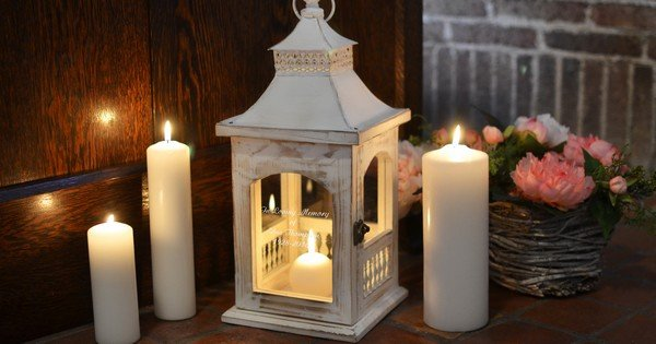 Personalized memorial lantern candle holder