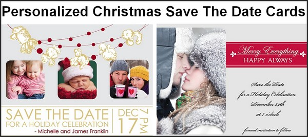 Custom printed Christmas party save the date cards