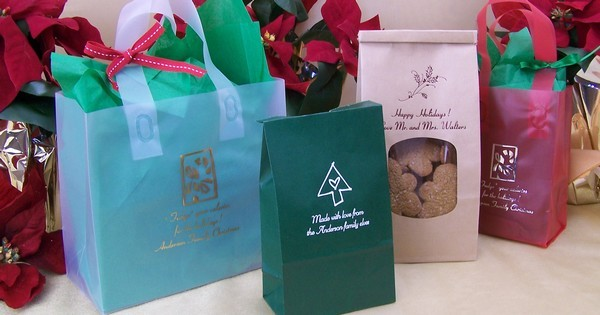 Custom printed Christmas party gift bags and goodie bags
