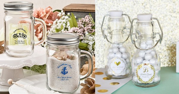 Custom printed wedding favor jars available in various sizes and shapes