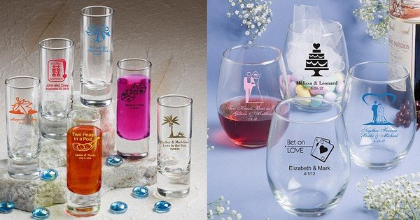 Glassware wedding favors personalized with design and up to 3 lines of custom print