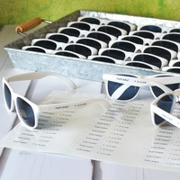 Personalized sunglasses for outdoor summer wedding favors
