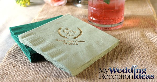 Custom printed wedding reception napkins