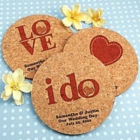 Eco-friendly drink coasters personalized with wedding designs and custom print