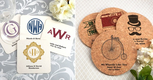 Personalized paper, pulpboard, and corkboard drink coaster wedding table decorations