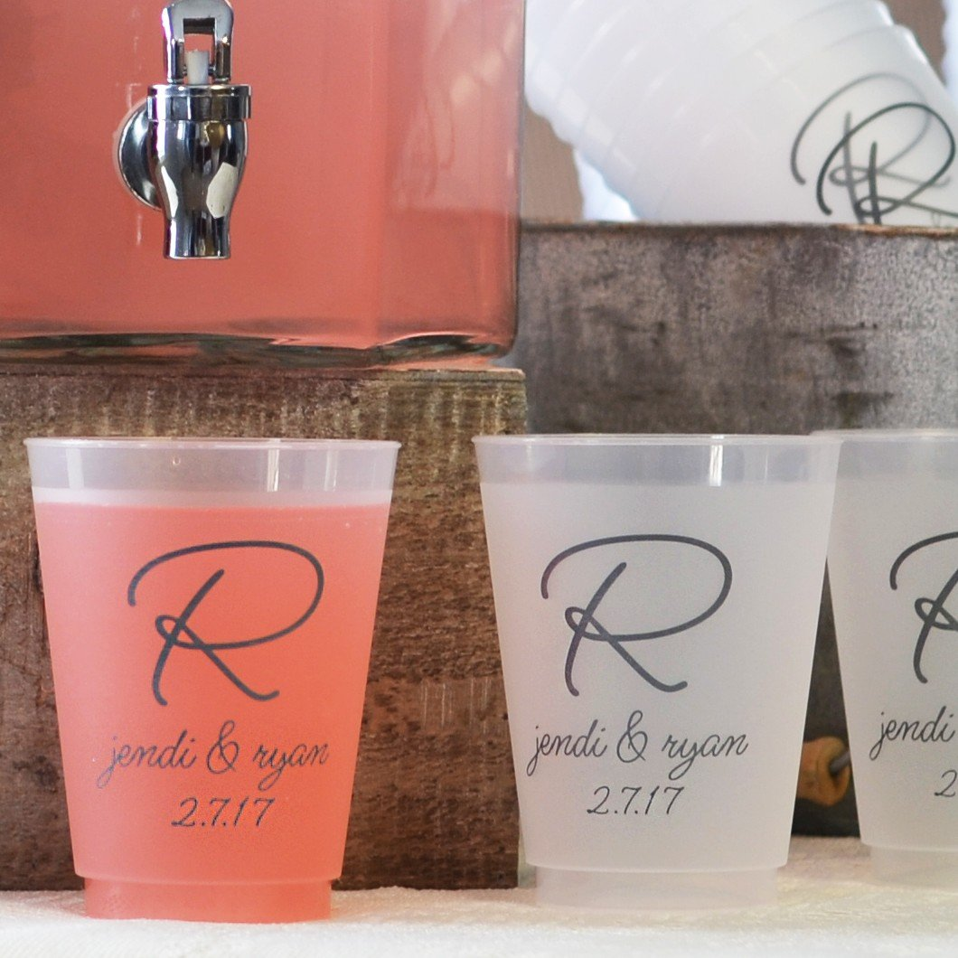 Personalized Plastic Wedding Reception Cups and Glasses