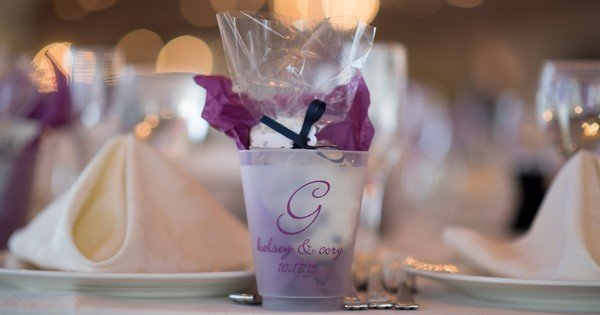 Personalized plastic wedding cups and glasses