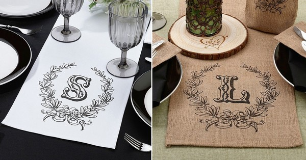 Custom printed white cotton and burlap wedding table runners