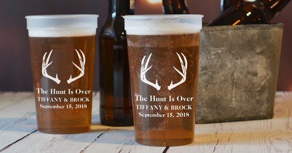 The Hunt Is Over personalized deer antlers plastic stadium cups