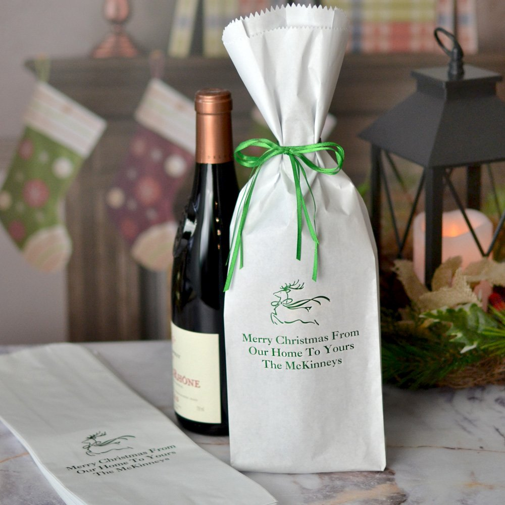 White paper wine bottle gift bags personalized with design and three lines of text in Shamrock Matte imprint color