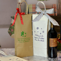 White and natural kraft handled paper wine bottle gift bags personalized with design and 3 lines of custom print