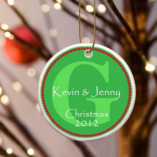 Green personalized monogram christmas ornament