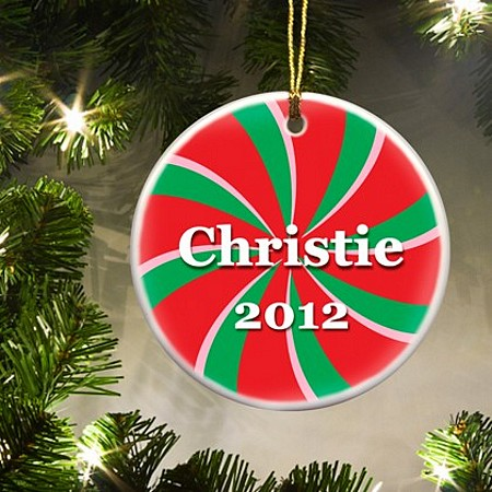 Sweet Wishes Personalized Candy Cane Ornament