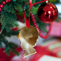 Personalized Vintage Boy Silhouette Christmas Ornament in Gold Mirrored Finish
