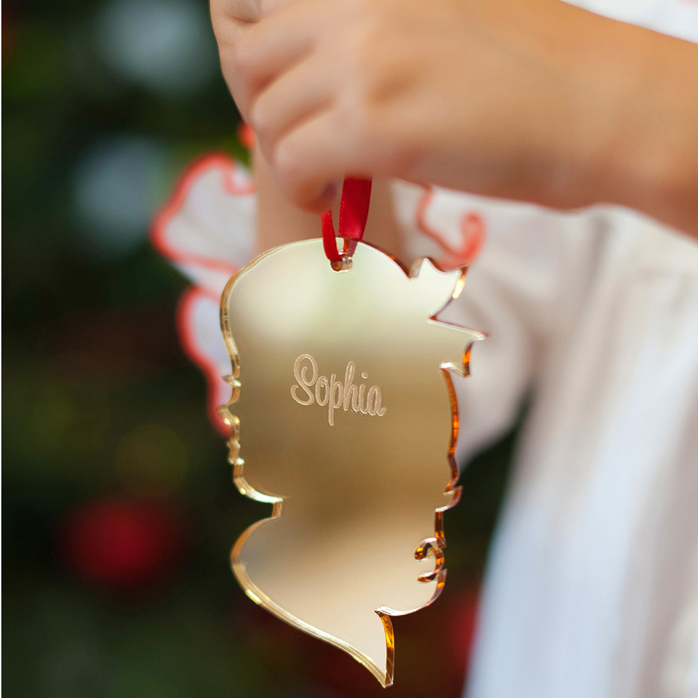 Personalized Vintage Girl Silhouette Christmas Ornament in Gold Mirrored Finish