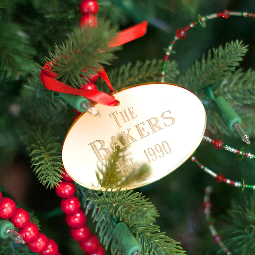 Personalized Oval Mirrored Acrylic Christmas Ornament in Gold Mirrored Finish