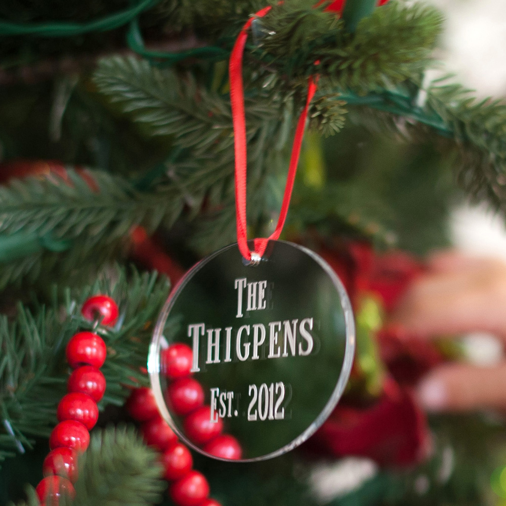 Personalized Oval Mirrored Acrylic Christmas Ornament in Silver Mirrored Finish