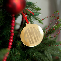 Personalized Round Mirrored Acrylic Christmas Ornament in Gold Mirrored Finish