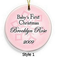 Baby Girl's First Christmas Ornament in Style 1