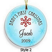 Personalized Baby Boy's First Christmas Ornament in Style 2