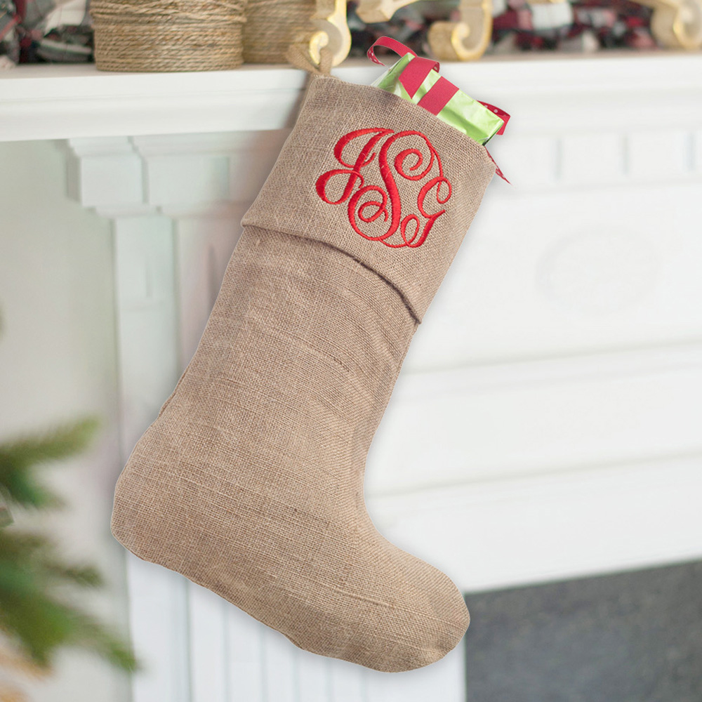 Burlap Stocking with Red Single Initial Monogram