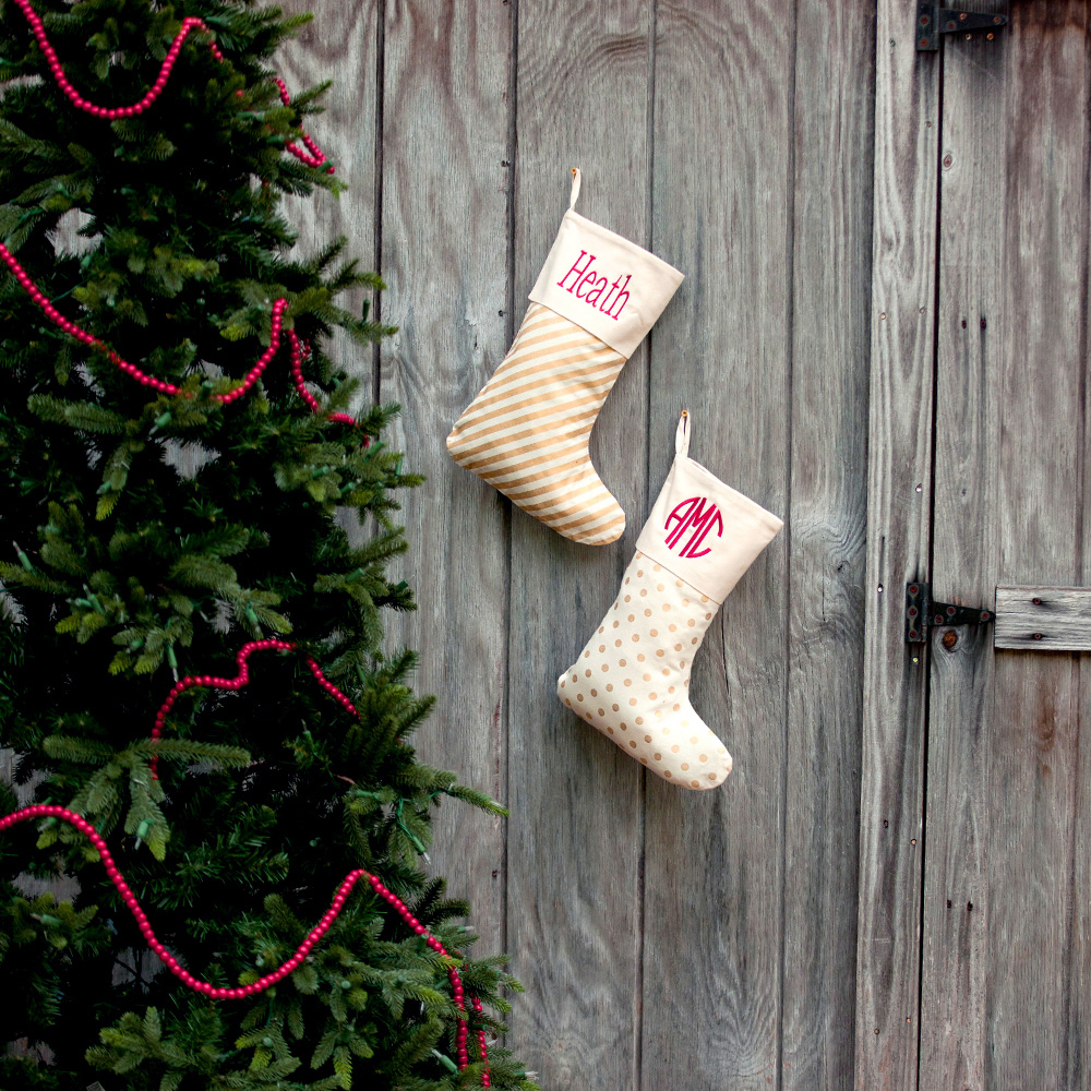 Gold Dot and Gold Stripe Christmas Stocking