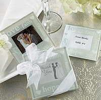Pearlized Glass Photo Coaster Sets with Wedding Wishes Wording