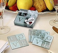Glass LOVE Coaster Wedding Favors