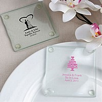 Clear glass drink coaster favors personalized with wedding design and 3 lines of custom print