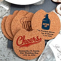 Eco-friendly round cork car coaster wedding favors personalized with cheers designs and custom text