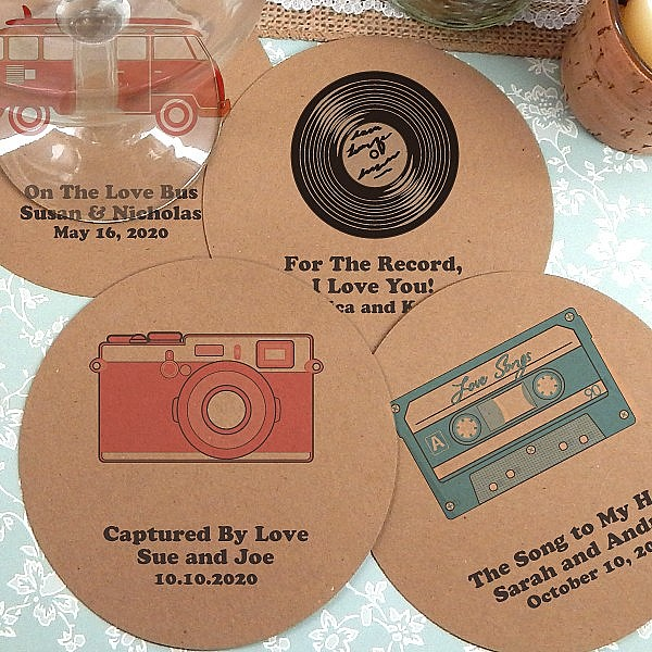 Kraft paper drink coasters personalized with retro wedding designs and custom print