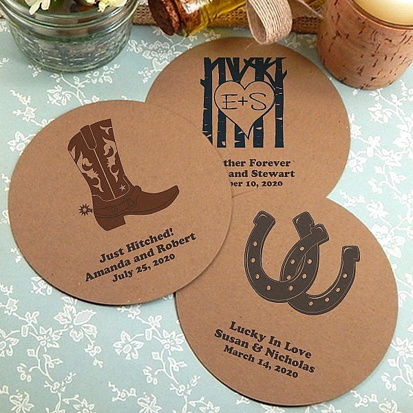Kraft paper drink coasters personalized with country wedding designs and custom print
