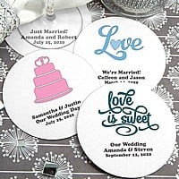 White round paper board drink coasters personalized with LOVE wedding designs and custom print